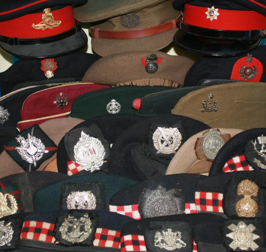 WWII OFFICERS CAPS AND SIDE HATS