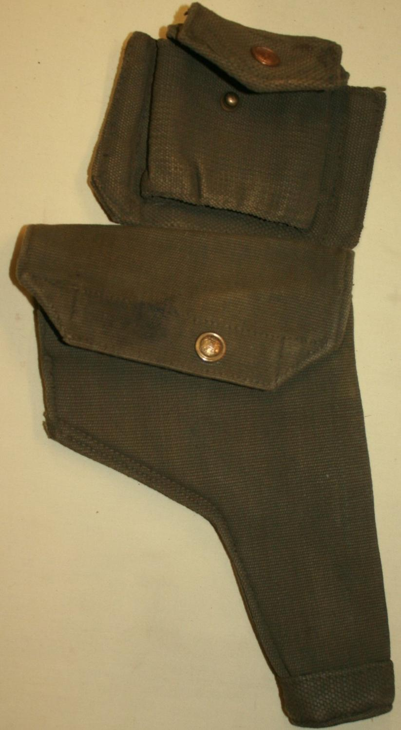 A BLANCOED 37 PATTERN WEBBING HOLSTER AND PISTOL AMMO POUCH