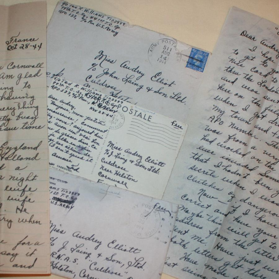 A US ARMY PAIR OF LETTERS AND CARD TO A BRITISH LOVED ONE