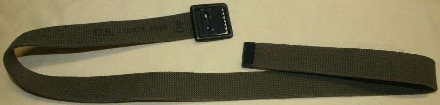 A WWII 1943 DATED DARK GREEN 40 INCH WAIST BELT