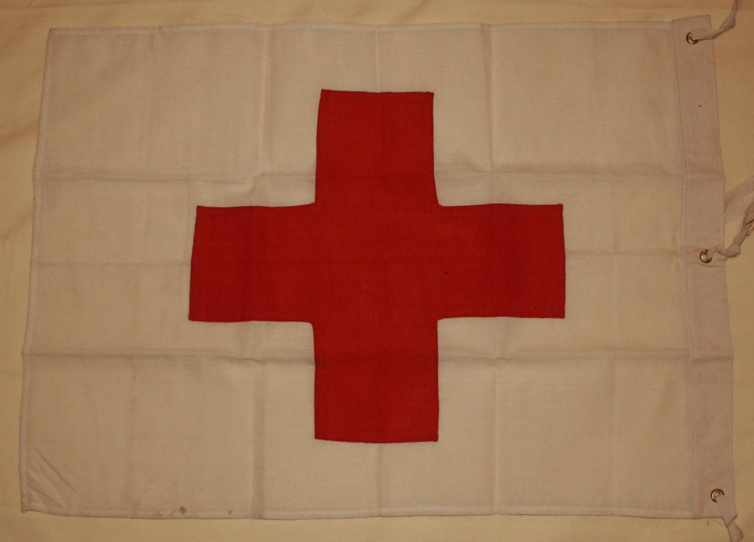 A WWII PERIOD RED CROSS TIE ON DRAPE