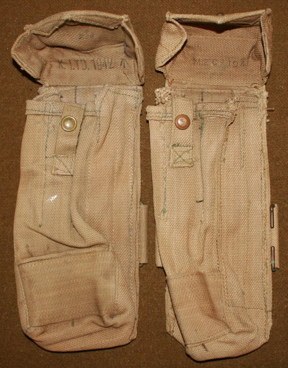 A PAIR OF STEN GUN MAGAZINE POUCHES