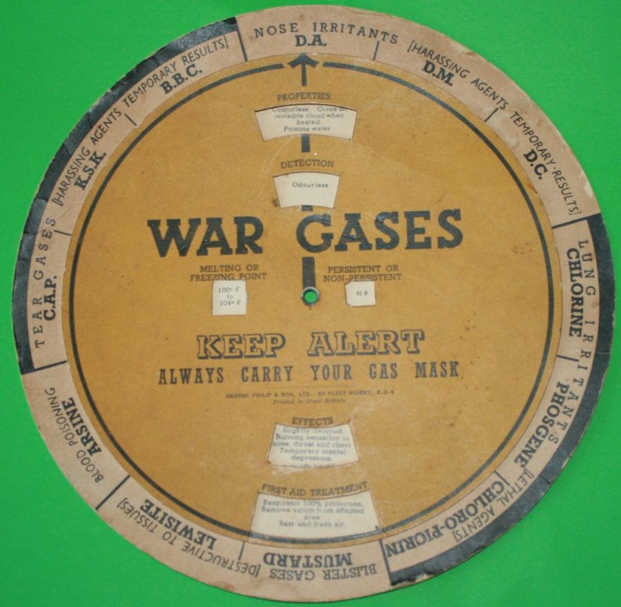 A WWII CIRCULAR WAR GASES CHART