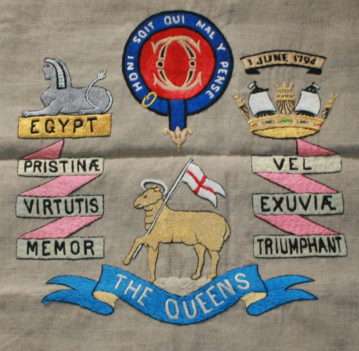A QUEENS REGT CUSHION COVER