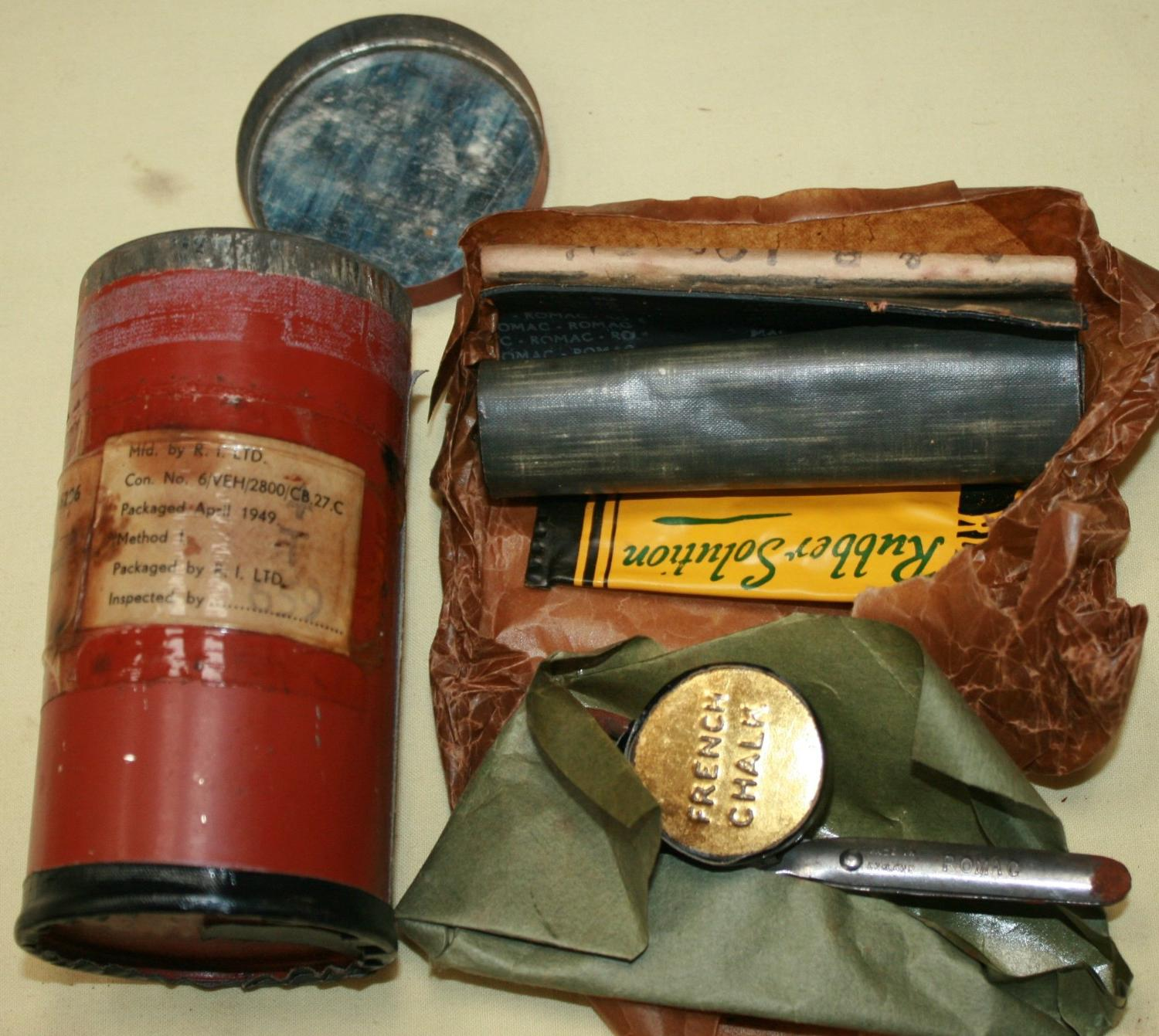 A WWII PERIOD MOTOR VEHICLES PUNCTURE REPAIR KIT
