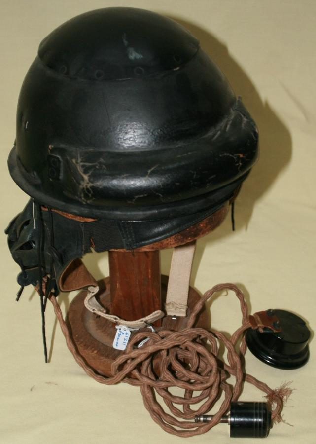 A GOOD EARLY WAR TANK HELMET