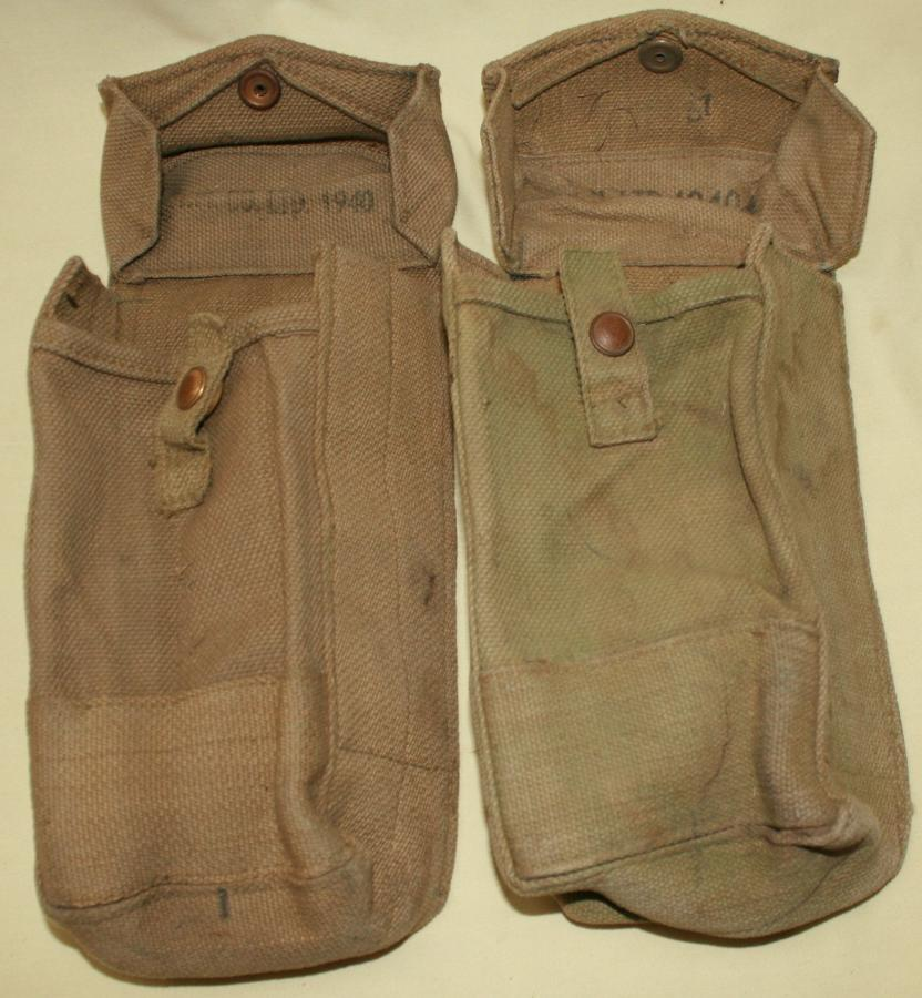 A PAIR OF 1940 DATED MKII BREN POUCHES