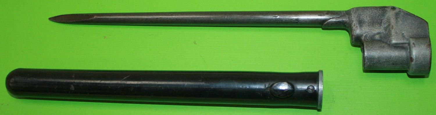 A No 4 MKII SPIKE BAYONET AND PLASTIC SCABBARD