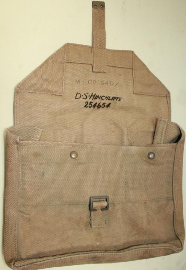A WWII OFFICERS SIDE PACK 1940 DATED
