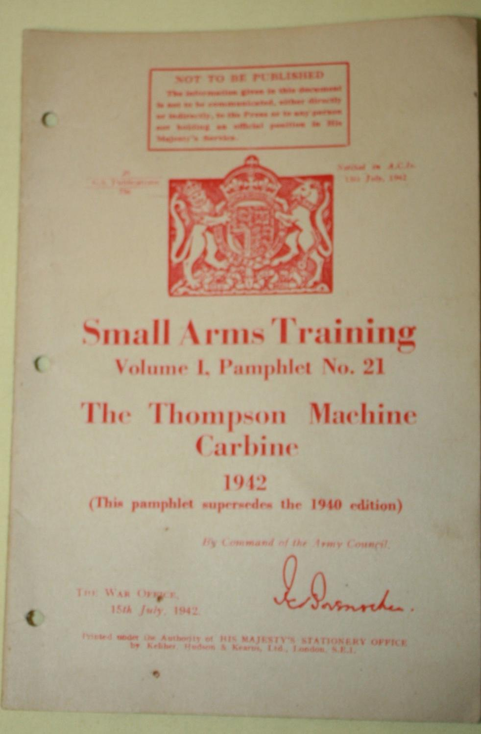 A THOMPSON MACHINE GUN PAMPHLET
