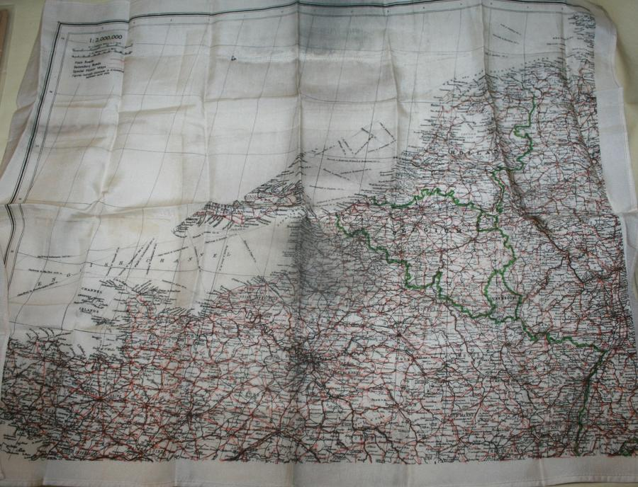 A WWII RAF SILK ESCAPE MAP OF FRANCE