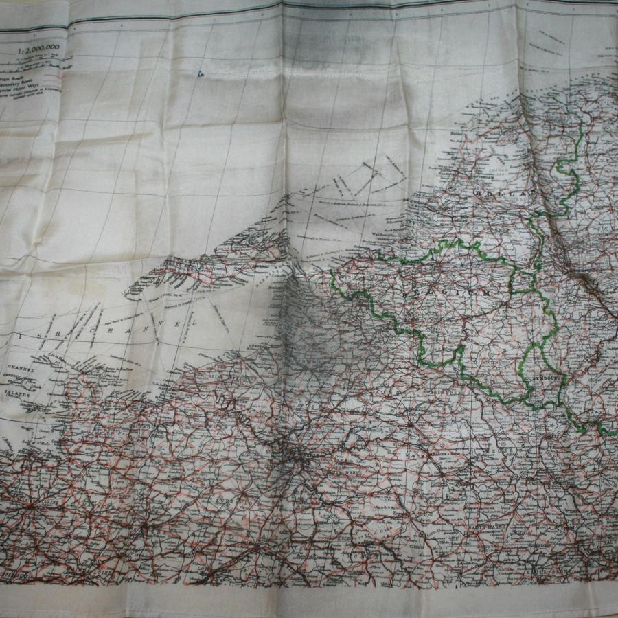 A WWII RAF SILK ESCAPE MAP OF FRANCE