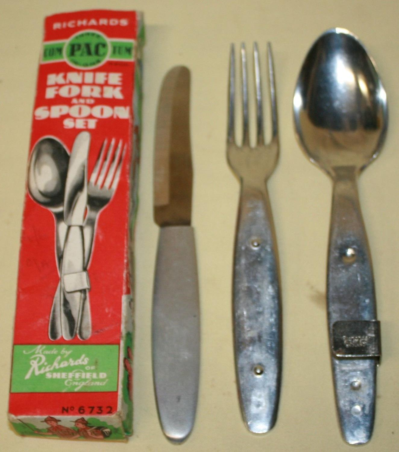 THE RICHARDS KNIFE FORK AND SPOON SET SIMILAR TO THE BRITISH ISSUE SET