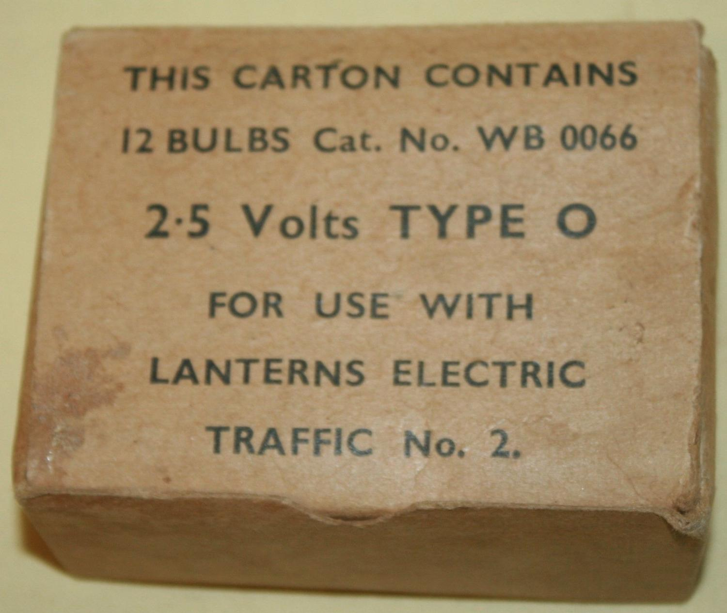 A WWII PERIOD BOX OF 12 LIGHT BULBS TORCH SIZE
