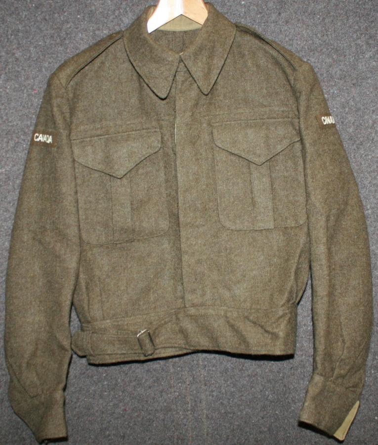 1945 DATED CANADIAN BATTLE DRESS JACKET SIZE 10