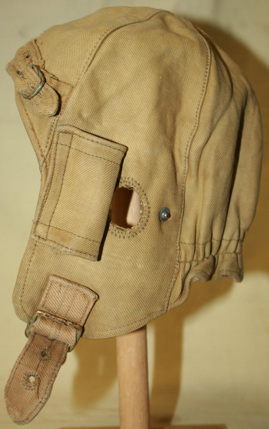 A EARLY WWII CANVAS DISPATCH RIDERS HELMET