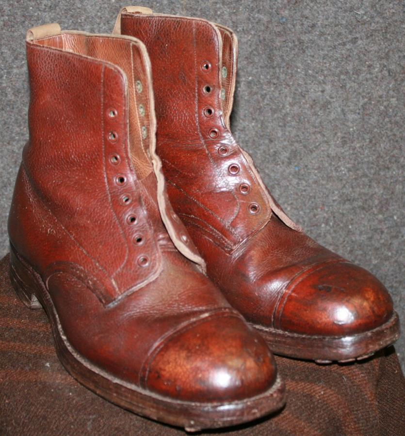 A RARE PAIR OF 1934 DATED BROWN OFFICERS BOOTS