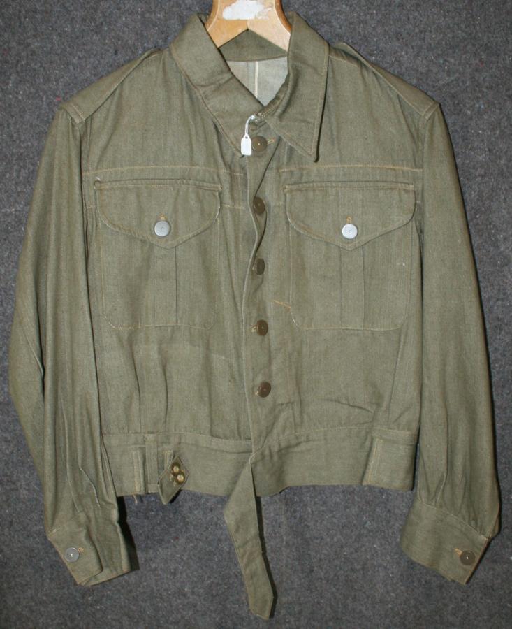 A WWII DENIM BATTLE DRESS BLOUSE