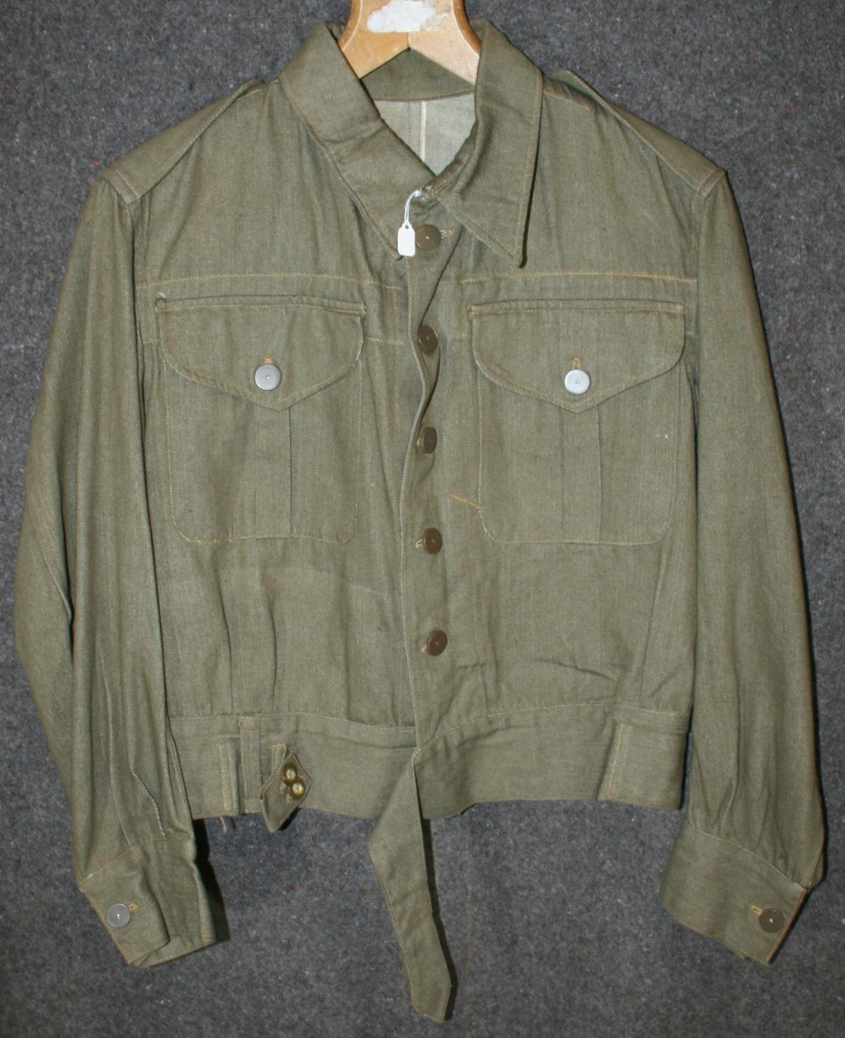 A WWII DENIM BATTLE DRESS BLOUSE