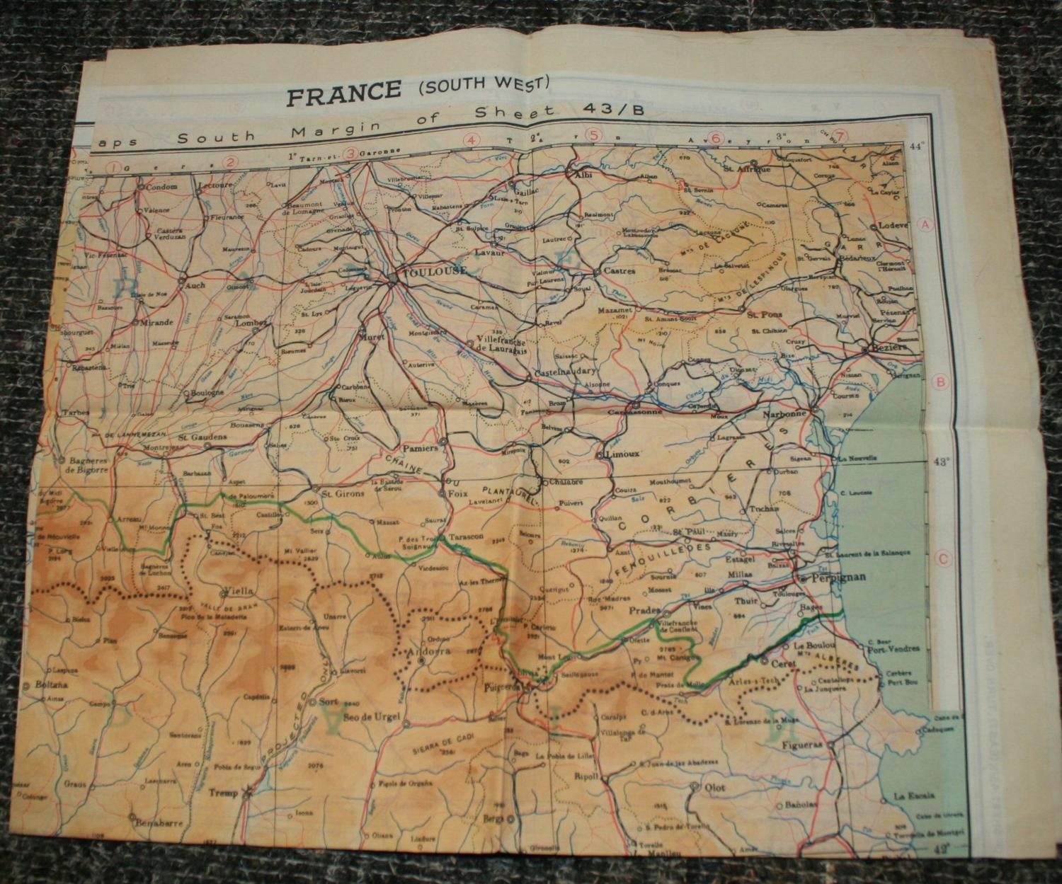A WWII RAF ESCAPE MAP OF SPAIN / FRANCE AND PORTUGAL