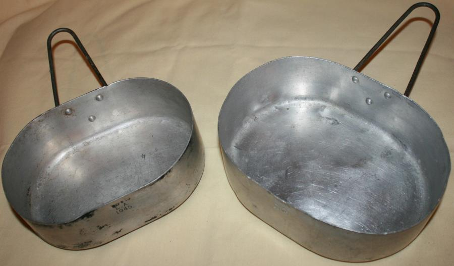 A PAIR OF THE INDIAN OVAL ALUMINUM MESS TINS 45 DATED