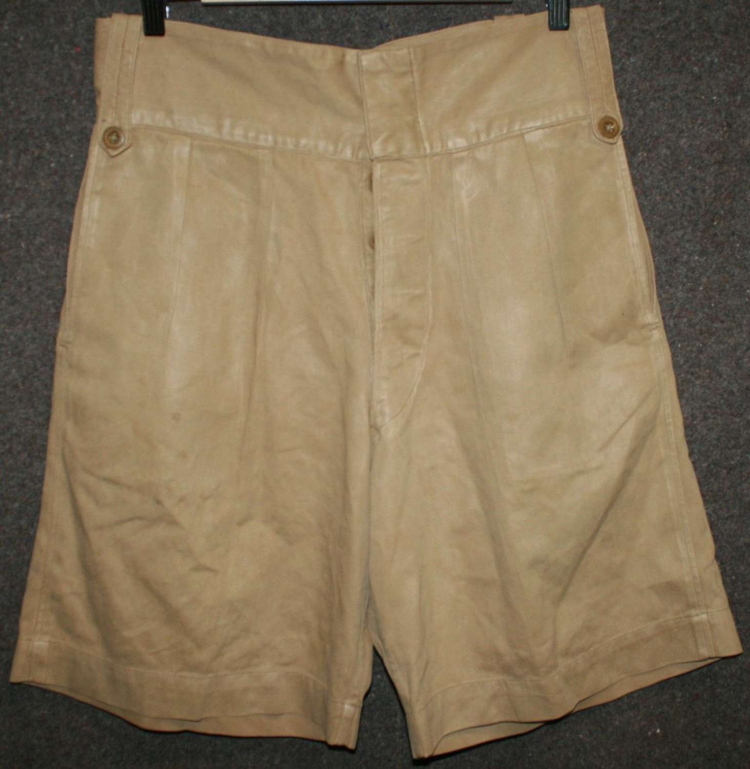 A PAIR OF BRITISH ARMY ISSUE KD SHORTS