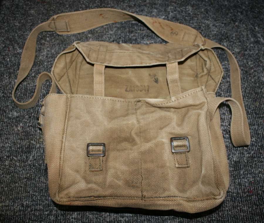 A 1943 DATED RADIO BATTERY BAG