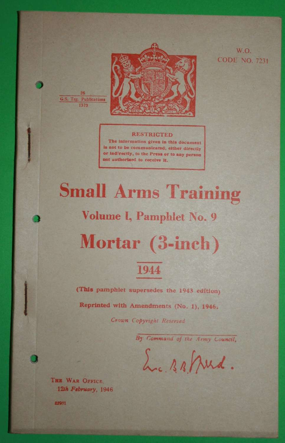 SMALL ARMS TRAINING MANUAL ( SAT ) NO 9 3 INCH MORTAR A 1946