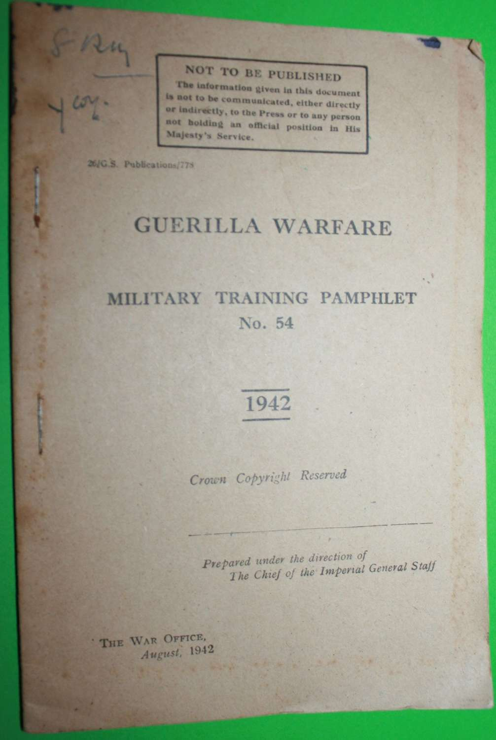 MILITARY TRAINING PAMPHLET NO 54 GUERILLA WARFARE