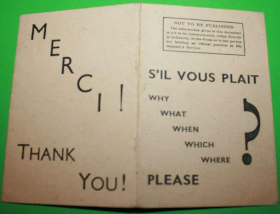 A RARE WWII COMBINED OPERATIONS S'IL VOUS PLAIT 5 W'S LEAFLET