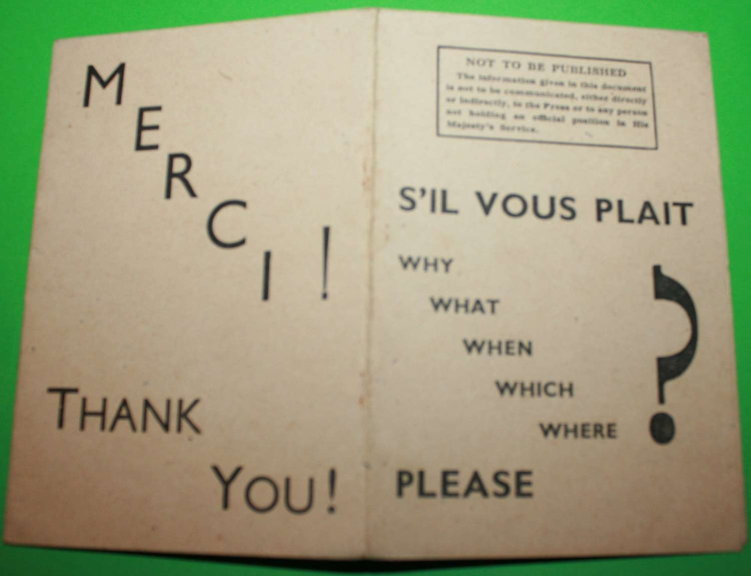A RARE WWII COMBINED OPERATIONS S'IL VOUS PLAIT 5 W'S LEAFLET
