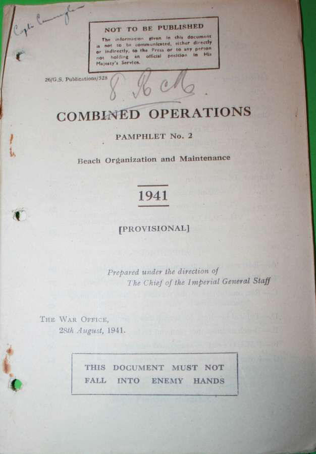 COMBINED OPERATIONS PAMPHLET NO 2 BEACH ORGANIZATION AND MAINTENANCE