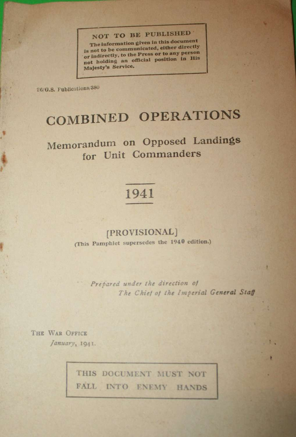 COMBINED OPERATIONS MEMORANDUM ON OPPOSED LANDINGS