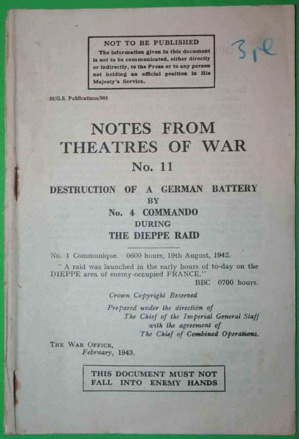 NOTES FROM THE THEATERS OF WAR NO11 DESTRUCTION OF A GERMAN BATTERERY