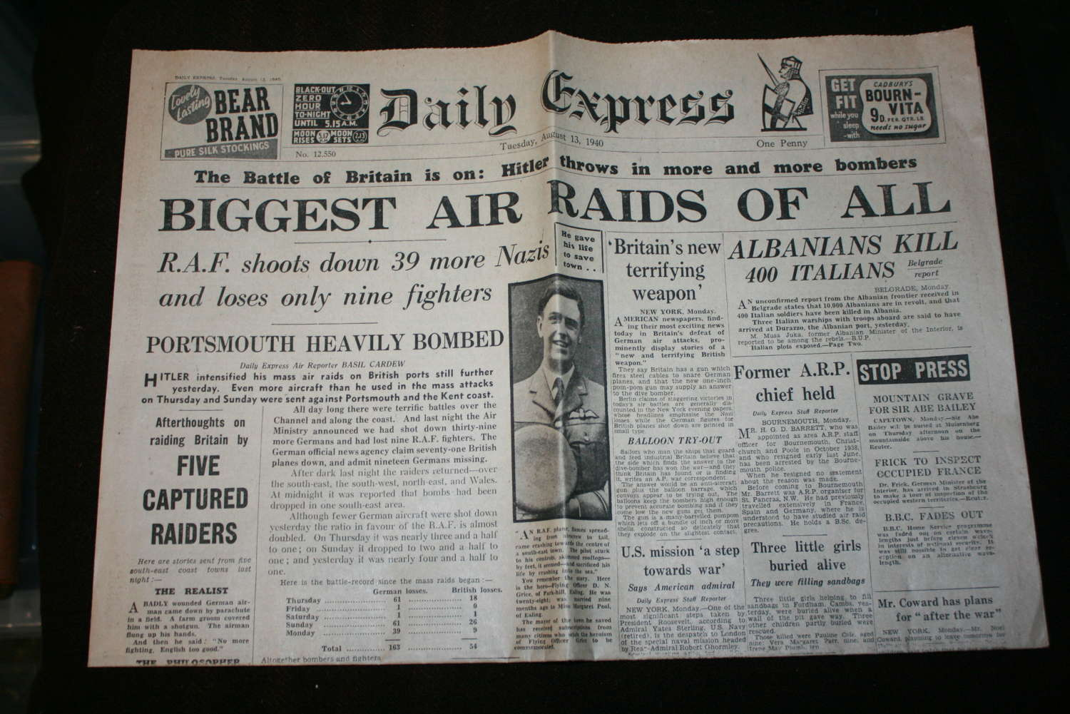 AN ORIGINAL DAILY EXPRESS 13 AUGUST 1940
