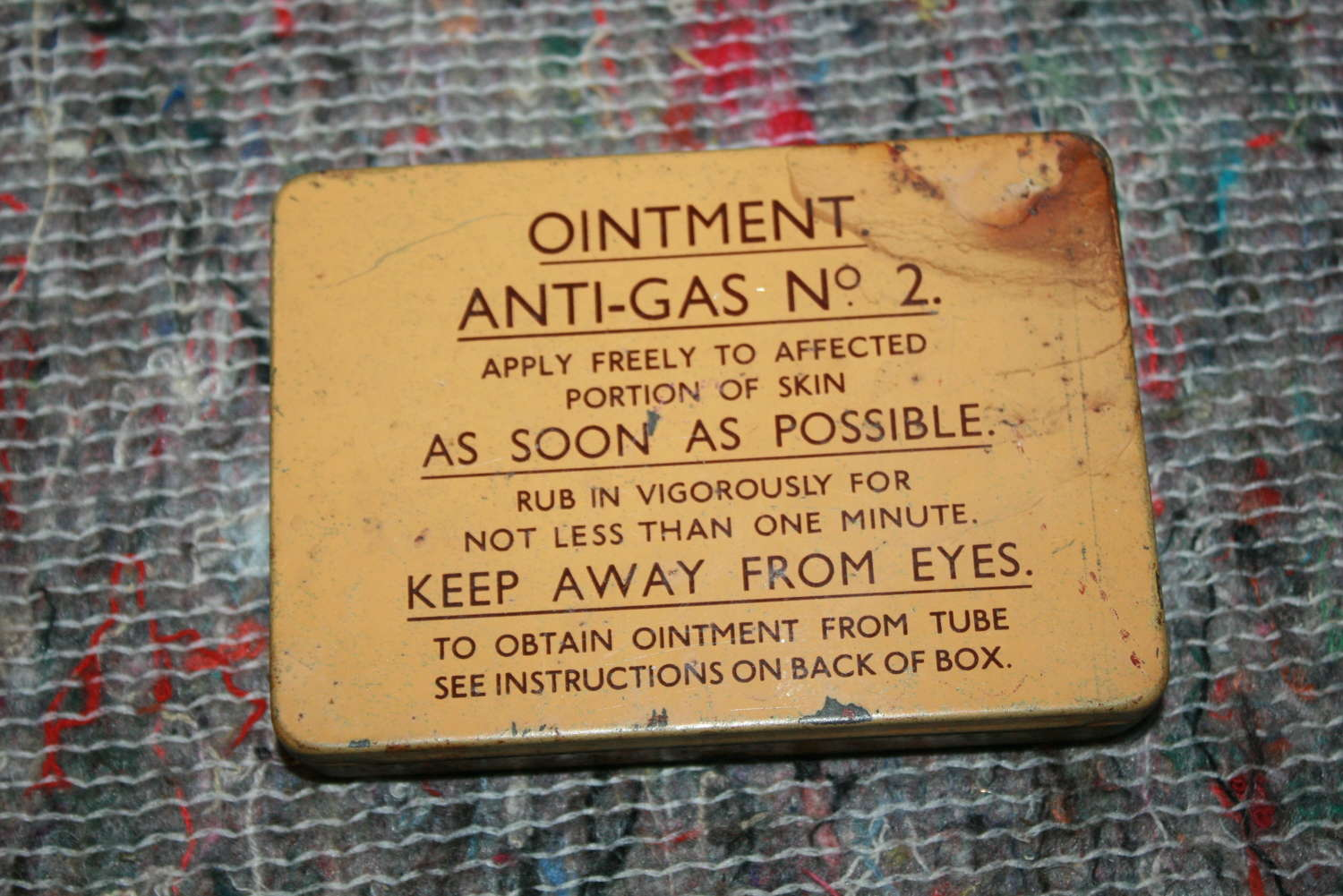 A GOOD WWII ANTI GAS OINTMENT TIN NO 2