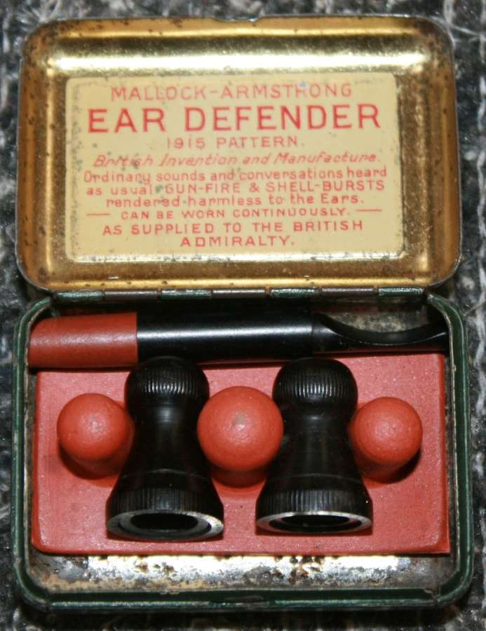 A CASED PAIR OF WWI PERIOD MALLOCK-ARMSTRONG EAR DEFENDERS