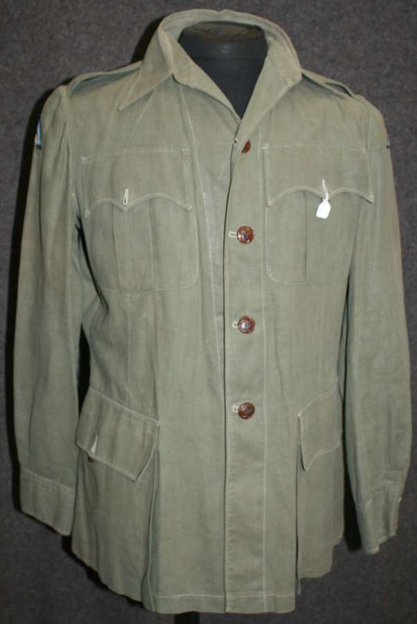 A WWII PERIOD 26th INDIAN DIVISION JUNGLE GREEN BUSH JACKET