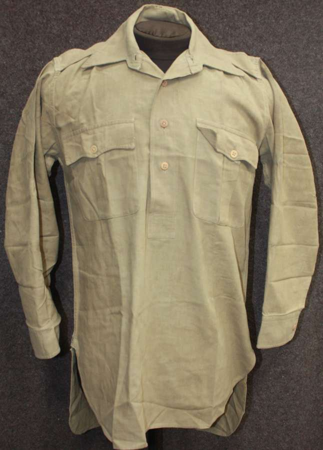 A WWII PERIOD KD SHIRT 4 BUTTON HALF FRONTED