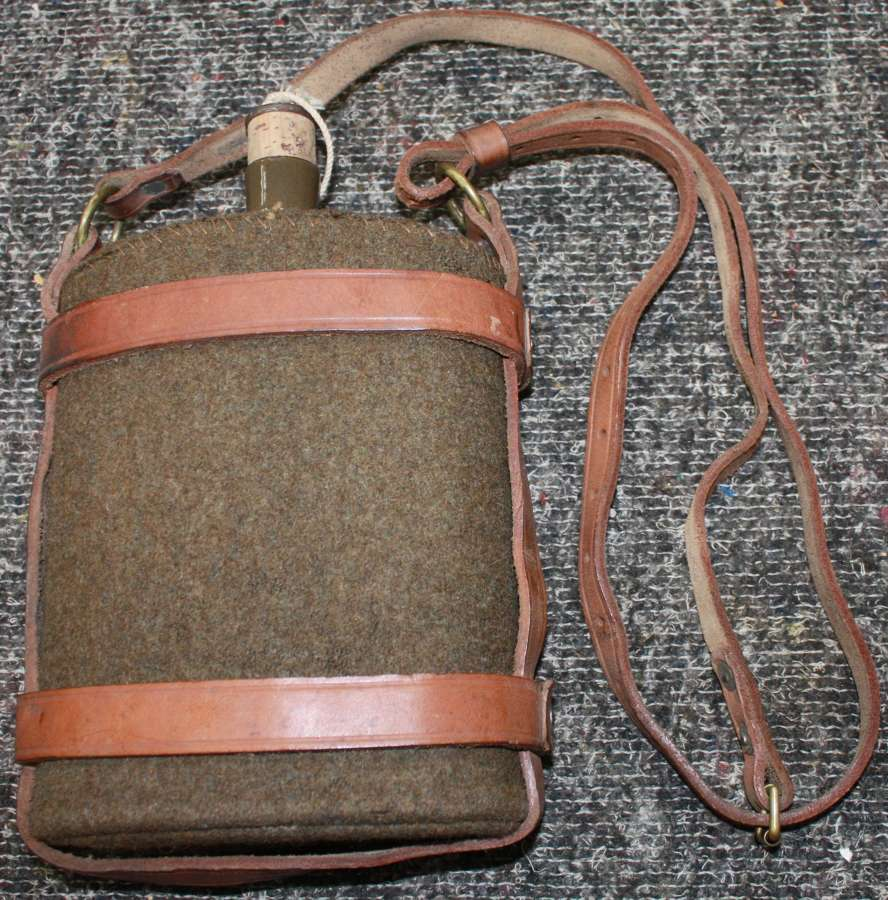 A VERY GOOD WWII 1941 DATED HOME GUARD LEATHER WATER BOTTLE SET