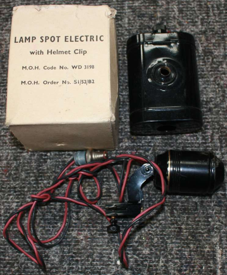 A BOXED WWII LAMP SPOT ELECTRICAL ARP / RESCUE PARTY HELMET LAMP