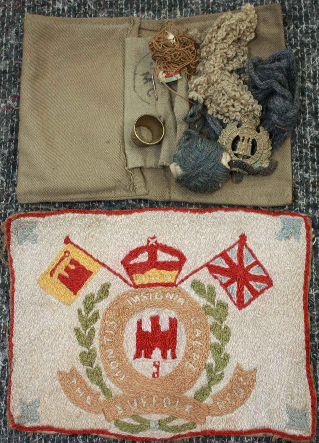 A WWII PERIOD SUFFOLK REGT HOUSE WIFE SET INDIAN MADE ITEMS