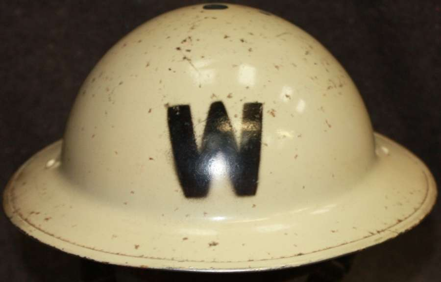 A WWII LONDON AREA WHITE WARDENS HELMET