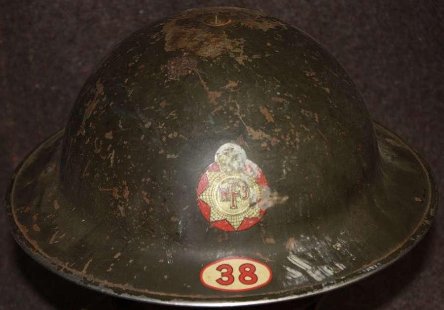 A WWII NFS HELMET AREA 38 HELMET GOOD USED EXAMPLE