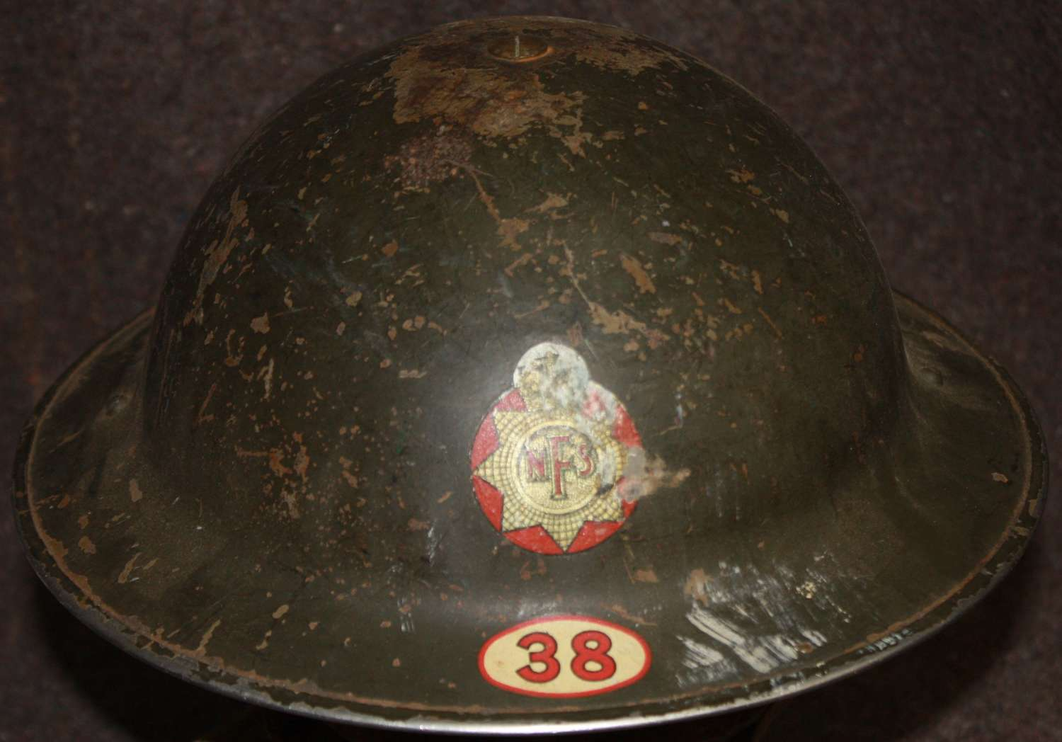 A WWII NFS HELMET AREA 38 HELMET GOOD USED EXAMPLE