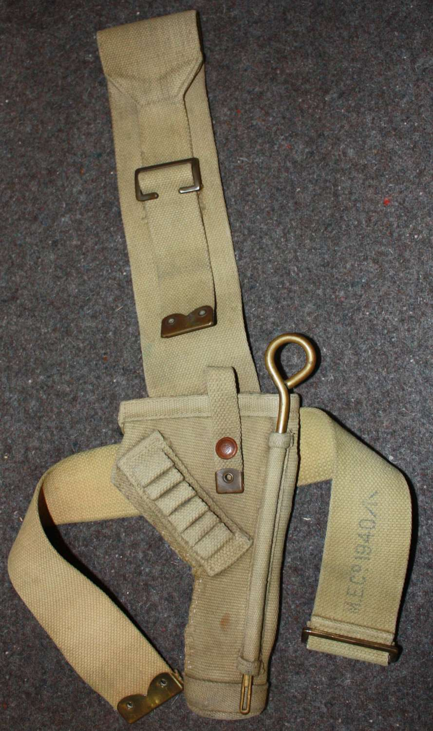 A 1940 DATED FULL LENGTH TANK CREW HOLSTER ( FIELD REPARED )