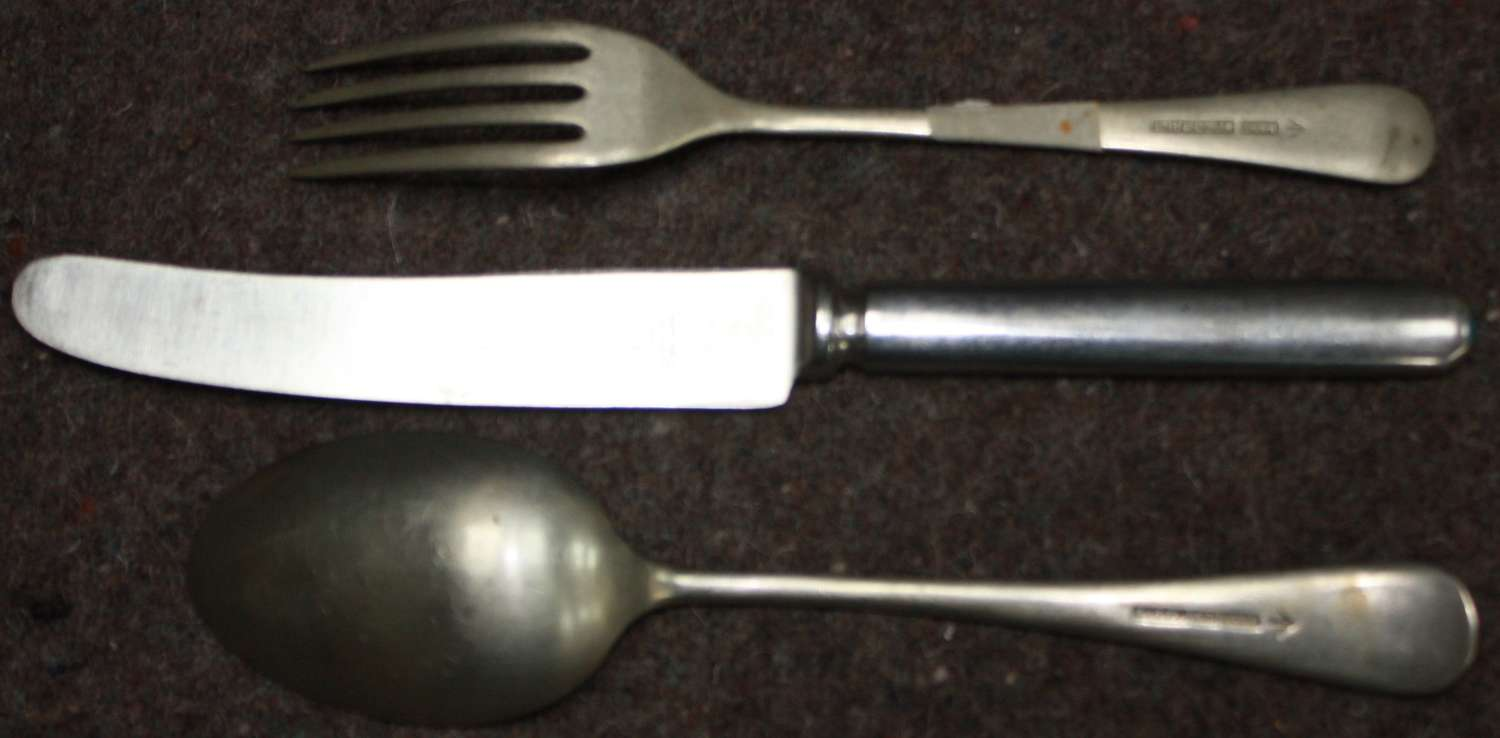 A WWII KNIFE , FORK AND SPOON SET ( KNIFE IS A POST WWII EXAMPLE )