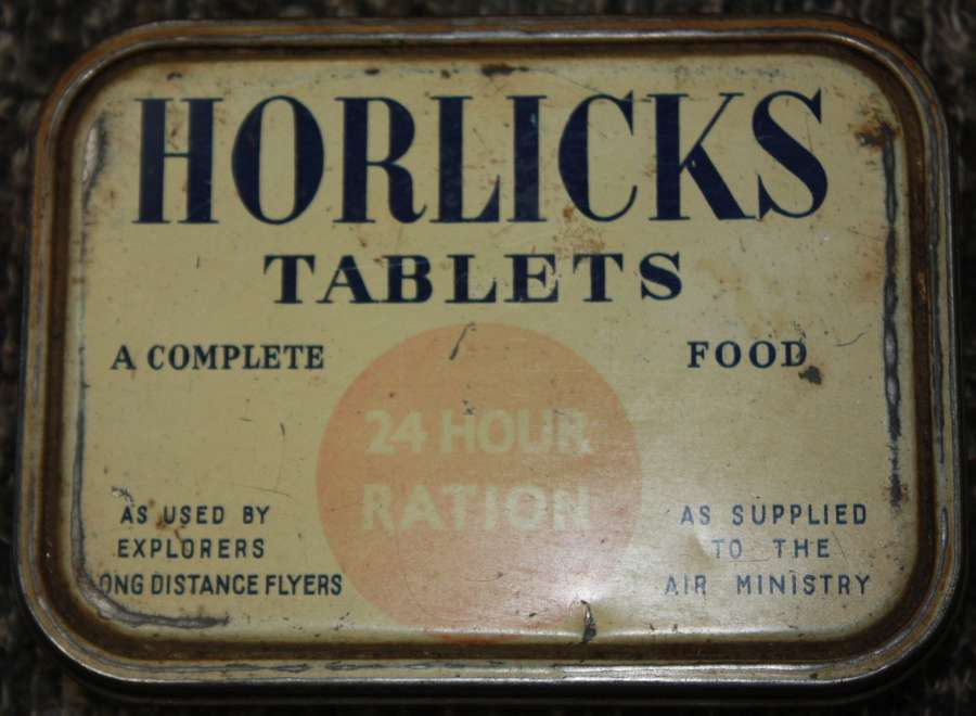 A WWII GOOD USED EXAMPLE OF THE RAF HORLICKS RATION TIN