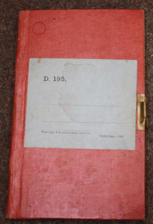 A 1903 DATED ARMY ISSUE RED NOTE BOOK