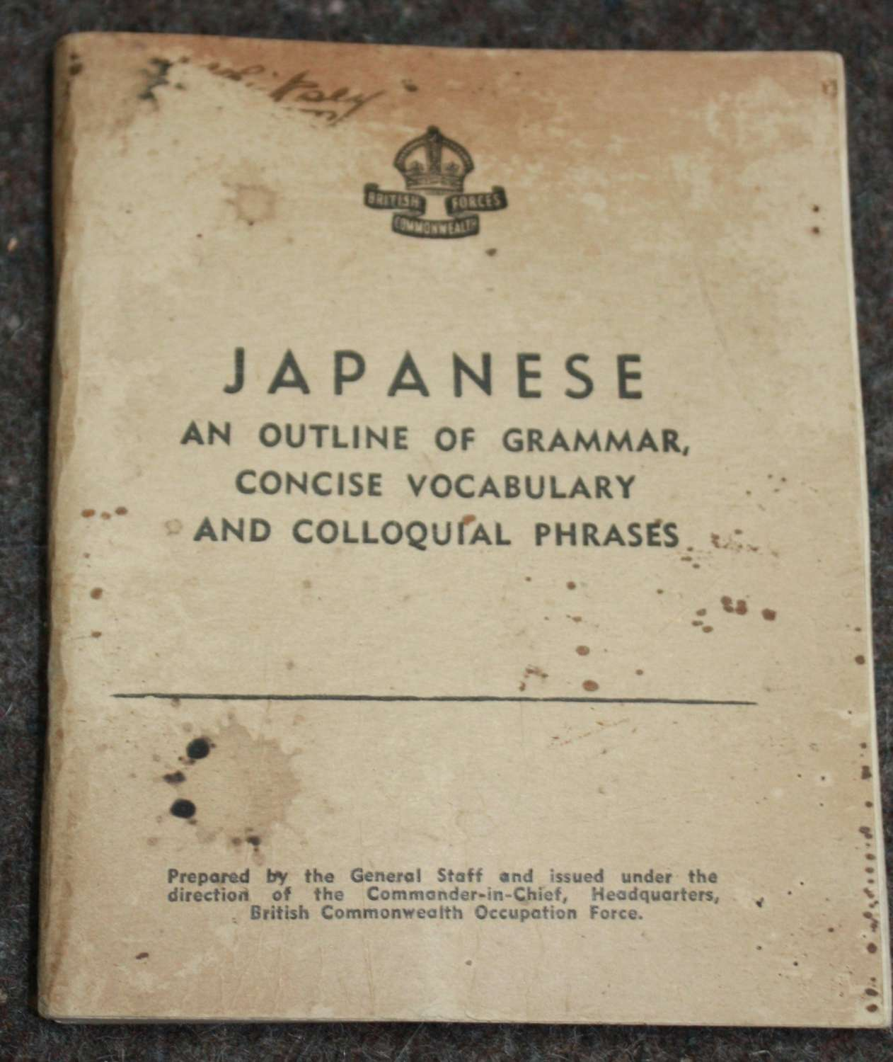A 1946 ISSUE BRITISH COMMONWEALTH FORCES JAPANESE LANGUAGE BOOKLET